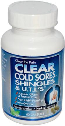 Clear Cold Sores, Shingles & U.T.I.s, 60 Capsules by Clear Products, 補品,順勢療法,健康 HK 香港