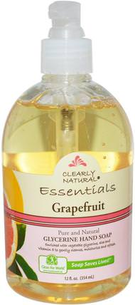 Essential, Glycerine Hand Soap, Grapefruit, 12 fl oz (354 ml) by Clearly Natural, 洗澡,美容,肥皂 HK 香港