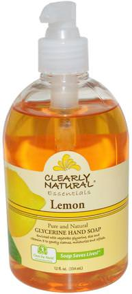 Essentials, Glycerine Hand Soap, Lemon, 12 fl oz (354 ml) by Clearly Natural, 洗澡,美容,肥皂 HK 香港