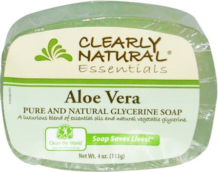 Essentials, Pure and Natural Glycerine Soap, Aloe Vera, 4 oz (113 g) by Clearly Natural, 洗澡,美容,肥皂 HK 香港