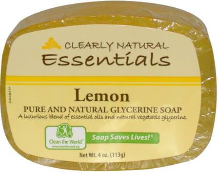 Essentials, Pure and Natural Glycerine Soap, Lemon, 4 oz (113 g) by Clearly Natural, 洗澡,美容,肥皂 HK 香港