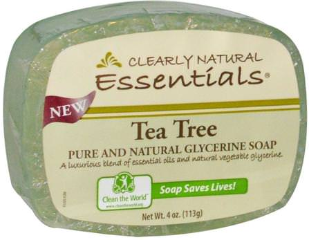 Essentials, Pure and Natural Glycerine Soap, Tea Tree, 4 oz (113 g) by Clearly Natural, 洗澡,美容,肥皂 HK 香港