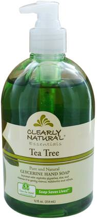 Essential, Glycerine Hand Soap, Tea Tree, 12 fl oz (354 ml) by Clearly Natural, 洗澡,美容,肥皂 HK 香港