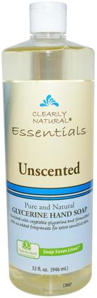 Essential, Glycerine Hand Soap, Unscented, 32 fl oz (946 ml) by Clearly Natural, 洗澡,美容,肥皂,筆芯 HK 香港