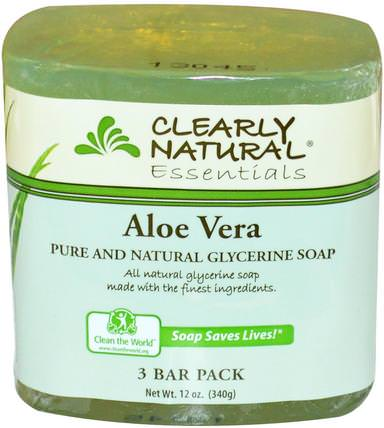 Essentials, Pure and Natural Glycerine Soap, Aloe Vera, 3 Bar Pack, 4 oz Each by Clearly Natural, 洗澡,美容,肥皂 HK 香港