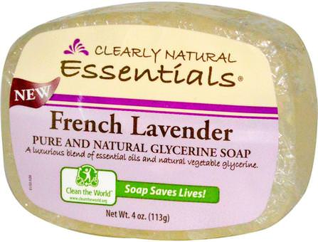 Essentials, Pure and Natural Glycerine Soap, French Lavender, 4 oz (113 g) by Clearly Natural, 洗澡,美容,肥皂 HK 香港