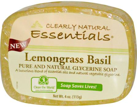 Essentials, Pure and Natural Glycerine Soap, Lemongrass Basil, 4 oz (113 g) by Clearly Natural, 洗澡,美容,肥皂 HK 香港