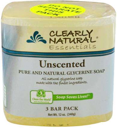 Essentials, Pure and Natural Glycerine Soap, Unscented, 3 Bar Pack, 4 oz Each by Clearly Natural, 洗澡,美容,肥皂 HK 香港