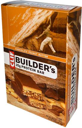 Builders Protein Bar, Peanut Butter Cocoa Dipped Double Decker Crisp, 12 Bars, 2.4 oz (68 g) Each by Clif Bar, 運動,蛋白質棒 HK 香港