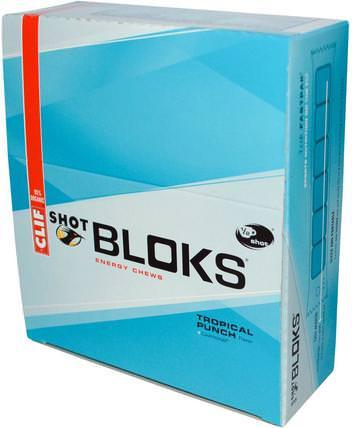Shot Bloks Energy Chews, Tropical Punch Flavor + Caffeine, 18 Packets, 2.1 oz (60 g) Each by Clif Bar, 運動,電解質飲料補水 HK 香港