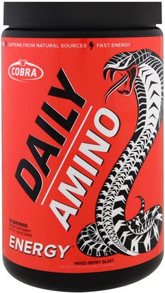 Daily Amino, Energy, Mixed Berry Blast, 9.0 oz (255 g) by Cobra Labs, 運動,補品,bcaa(支鏈氨基酸) HK 香港