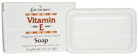 Vitamin E Soap, Fragrance Free Antioxidant, 4 oz. (113 g) by Cococare, 維生素,維生素E,肥皂 HK 香港
