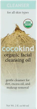 Organic Facial Cleansing Oil, For All Skin Types, 2 fl oz (60 ml) by Cocokind, 健康,皮膚,沐浴,美容油,面部護理油,美容,椰子油皮膚 HK 香港