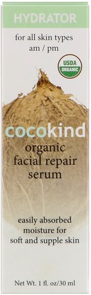 Organic Facial Repair Serum, For All Skin Types, 1 fl oz (30 ml) by Cocokind, 沐浴,美容,椰子油皮膚,面部護理,面霜,乳液 HK 香港