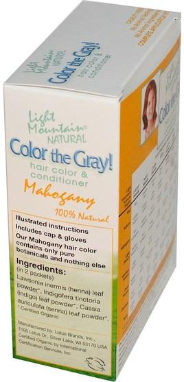 健康 - Light Mountain, Color the Gray!, Organic Natural Hair Color & Conditioner, Mahogany, 7 oz (198 g)