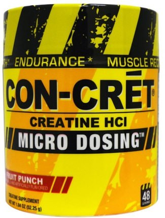 Creatine HCl, Micro Dosing, Fruit Punch, 1.84 oz (52.25 g) by Con-Cret, 運動,肌酸粉,運動 HK 香港