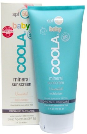 Baby Mineral Sunscreen, SPF 50, Unscented Moisturizer, 3 fl oz (90 ml) by COOLA Organic Suncare Collection, 洗澡,美容,防曬霜,兒童和嬰兒防曬霜,面部護理,spf面部護理 HK 香港