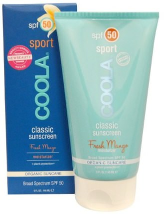 Classic Sport, Classic Sunscreen, SPF 50, Fresh Mango, 5 fl oz (148 ml) by COOLA Organic Suncare Collection, 浴,美容,防曬霜,spf 50-75 HK 香港