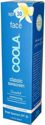 Face, Classic Sunscreen, SPF 30, Unscented, 1.7 fl oz (50 ml) by COOLA Organic Suncare Collection, 洗澡,美容,防曬霜,spf 30-45 HK 香港