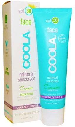 Face, Mineral Sunscreen, Matte Finish, SPF 30, Cucumber, 1.7 fl oz (50 ml) by COOLA Organic Suncare Collection, 洗澡,美容,防曬霜,spf 30-45 HK 香港