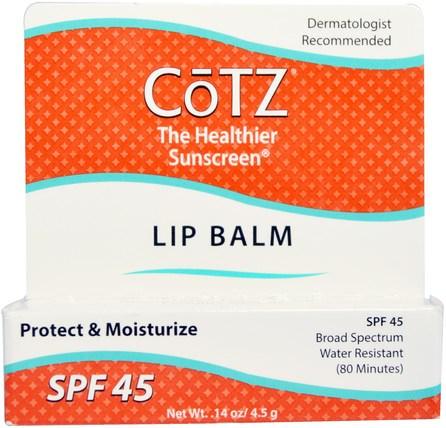Lip Balm, SPF 45, 0.14 oz (4.5 g) by Cotz, 洗澡,美容,唇部護理,唇膏,面部護理,spf面部護理 HK 香港
