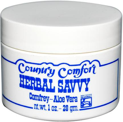 Herbal Savvy, Comfrey-Aloe Vera, 1 oz (28 g) by Country Comfort, 草藥,紫草,尿布,尿布霜 HK 香港