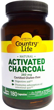 Activated Charcoal, 260 mg, 180 Capsules by Country Life, 補品,礦物質,活性炭 HK 香港
