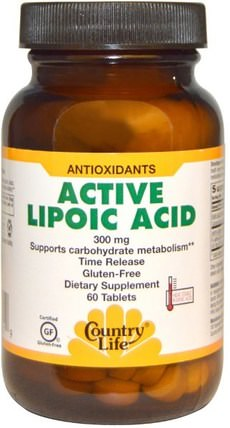 Active Lipoic Acid, 300 mg, 60 Tablets by Country Life, 補充劑,抗氧化劑,α硫辛酸 HK 香港