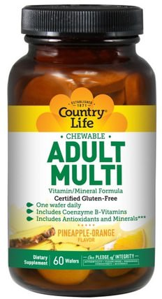 Adult Multi, Chewable, Pineapple-Orange Flavor, 60 Wafers by Country Life, 維生素,多種維生素 HK 香港