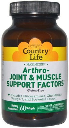 Arthro - Joint & Muscle Support Factors, 60 Softgels by Country Life, 補充劑,氨基葡萄糖 HK 香港