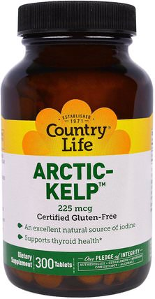 Artic-Kelp, 225 mcg, 300 Tablets by Country Life, 補充劑,各種藻類,海帶,礦物質 HK 香港
