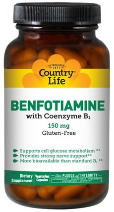 Benfotiamine, with Coenzyme B1, 150 mg, 60 Veggie Caps by Country Life, 補充劑,輔酶b維生素,benfotiamine HK 香港