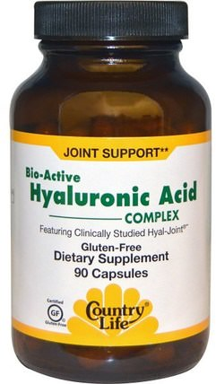 Bio-Active Hyaluronic Acid Complex, 90 Capsules by Country Life, 美容,抗衰老,透明質酸 HK 香港