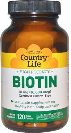Biotin, High Potency, 10 mg, 120 Vegan Caps by Country Life, 維生素,生物素 HK 香港