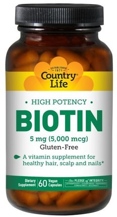 Biotin, High Potency, 5 mg, 60 Vegan Caps by Country Life, 維生素,生物素 HK 香港