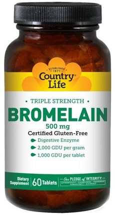 Bromelain, Triple Strength, 500 mg, 60 Tablets by Country Life, 補充劑,酶,菠蘿蛋白酶 HK 香港