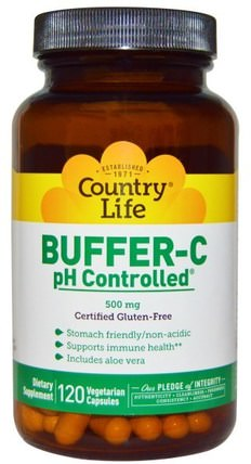 Buffer-C, pH Controlled, 500 mg, 120 Veggie Caps by Country Life, 維生素,維生素C緩衝 HK 香港