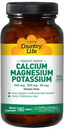 Calcium, Magnesium, and Potassium, 500 mg : 500 mg : 99 mg, 180 Tablets by Country Life, 補充劑,礦物質,鈣和鎂 HK 香港