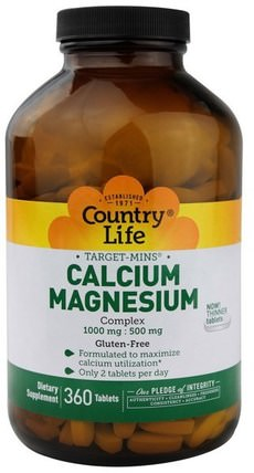 Target-Mins, Calcium-Magnesium Complex, 360 Tablets by Country Life, 補充劑,礦物質,鈣和鎂 HK 香港