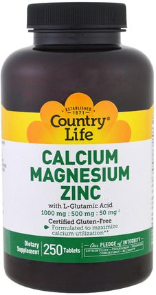 Calcium Magnesium Zinc, 250 Tablets by Country Life, 補充劑,礦物質,鈣和鎂 HK 香港