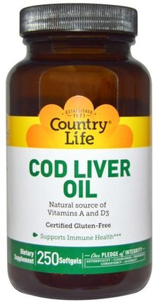 Cod Liver Oil, 250 Softgels by Country Life, 補充劑,efa omega 3 6 9(epa dha),魚油,魚肝油軟膠囊 HK 香港