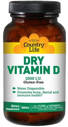 Dry Vitamin D, 1000 IU, 100 Tablets by Country Life, 維生素,維生素D3 HK 香港