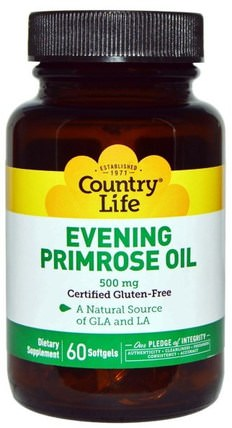 Evening Primrose Oil, 500 mg, 60 Softgels by Country Life, 補充劑,efa omega 3 6 9(epa dha),月見草油,月見草油軟膠囊 HK 香港