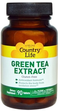 Green Tea Extract, 90 Tablets by Country Life, 補充劑,抗氧化劑,綠茶 HK 香港