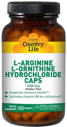 L-Arginine L-Ornithine Hydrochloride Caps, 1000 mg, 180 Capsules by Country Life, 補充劑,氨基酸,精氨酸,精氨酸+ l鳥氨酸 HK 香港