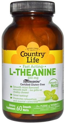 Country Life, L-Theanine, 100 mg, 60 Smooth Melts 補充劑,茶氨酸