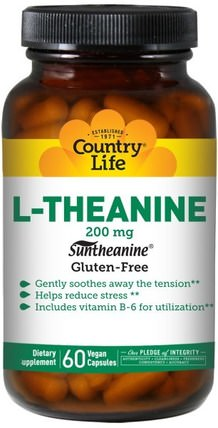 L-Theanine, 200 mg, 60 Vegan Caps by Country Life, 補充劑,氨基酸,茶氨酸 HK 香港