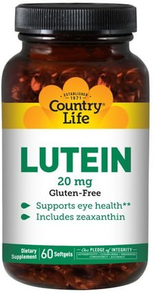Lutein, 20 mg, 60 Softgels by Country Life, 補充劑,抗氧化劑,葉黃素,維生素 HK 香港