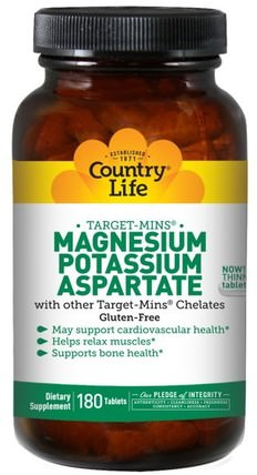 Magnesium Potassium Aspartate, 180 Tablets by Country Life, 補充劑,礦物質,天冬氨酸鎂 HK 香港