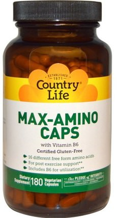 Max-Amino Caps, with Vitamin B-6, 180 Veggie Caps by Country Life, 補充劑,氨基酸,絲氨酸 HK 香港